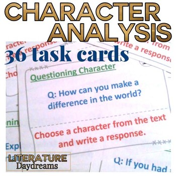 Character Analysis Task Cards any literature text