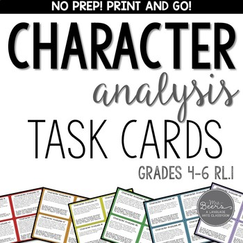Character Analysis Task Cards for Grades 4-6 RL.1