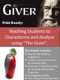 Analyzing Characters and Characterization-  The Giver