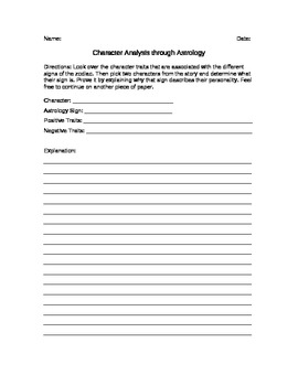 Character Analysis Through Astrology
