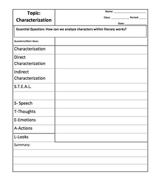 Teaching Characterization- Cornell Notes, Graphic Organizer, Anchor Chart