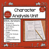 Character Analysis Unit- STEAL Characterization