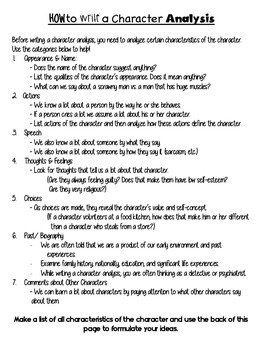 Character Analysis Writing