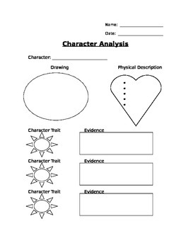 Character Analysis and Character Perspective Letter Writing Printable