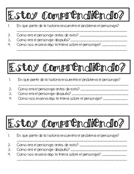 Character Analysis exit ticket (Bilingual)