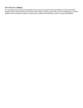 Character Analysis: graphic organizer + writing activity