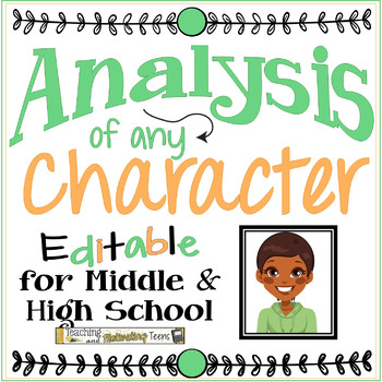 Character Analysis of Any Character CCSS Handout for Middle & High School ELA