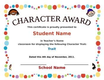 Character Award Certificate By Tech Teacher Teachers Pay