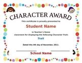 Character Award Certificate