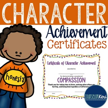 character award certificates elementary school counseling