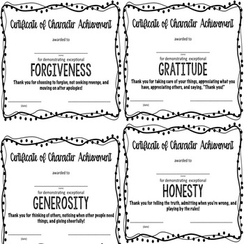Character Award Certificates - Elementary School Counseling - Character Ed