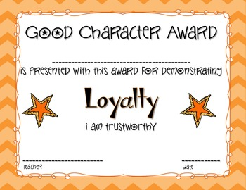 Character Education Award Certificates - Inch and Miles by ...
