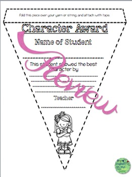 Awards-Character Education-Pennants, Ready to Color! Print, Copy & Go!