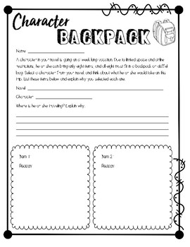 Character Backpack - Book Report Project