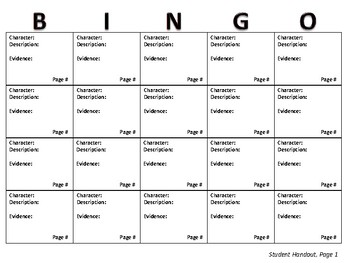 Character Bingo Board; For Use With Any Class Novel