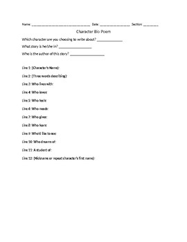 Character Bio Poem Worksheets & Teaching Resources | TpT