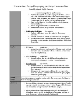 Character Body-Biography Activity 2-Day Lesson Plan