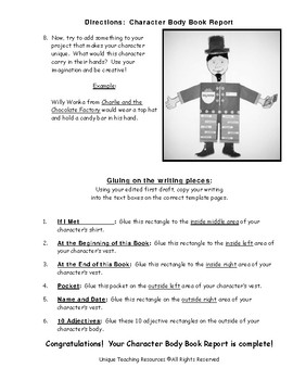 Character Body Book Report