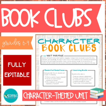 Character Trait Book Clubs / Literature Circles - EDITABLE