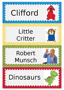 Character Book Labels