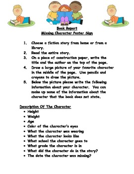 Character Book Report Assignment