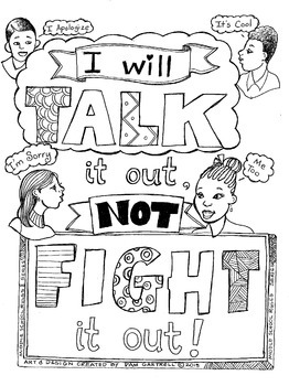 """Character Building Activity """"Talk it Out"""" Coloring Sheets"""