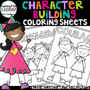 Character Building Coloring Pages and Writing Prompts