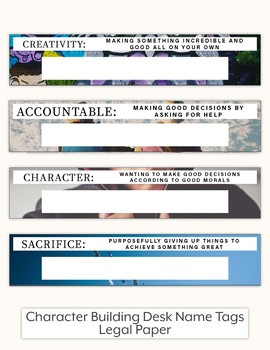 Character Building Desk Name Tags - Legal Paper