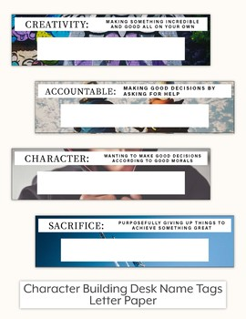 Character Building Desk Name Tags - Letter Paper