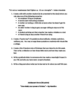 Character Building Learning Menu: Authentic Assessment