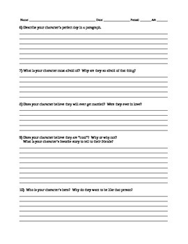 Character Building Sheet