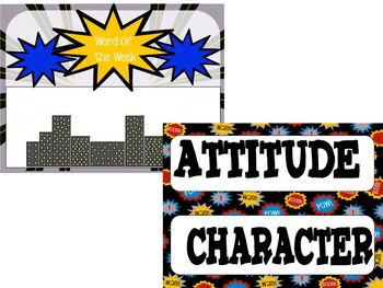 Character Building Word of Week, Super Hero Theme