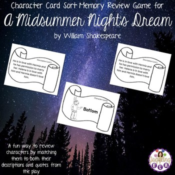 Character Card Sort Memory Review Game for A Midsummer Night's Dream