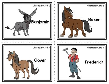 Character Card Sort Memory Review Game For Animal Farm By George Orwell