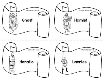 Character Card Sort Memory Review Game for Hamlet by William Shakespeare