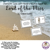 Character Card Sort Memory Review Game for Lord of the Flies by William Golding