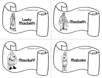 Character Card Sort Memory Review Game for Macbeth by William Shakespeare