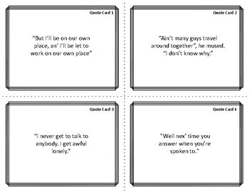 Character Card Sort Memory Review Game for Of Mice and Men by John Steinbeck