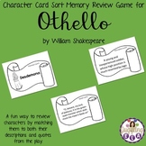 Character Card Sort Memory Review Game for Othello by William Shakespeare