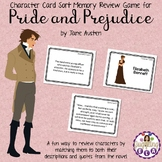 Character Card Sort Memory Review Game for Pride and Prejudice by Jane Austen