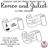Character Card Sort Memory Review Game for  Romeo and Juliet