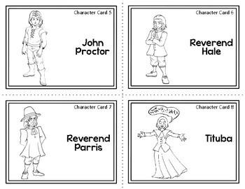 Character Card Sort Memory Review Game for The Crucible by Arthur Miller