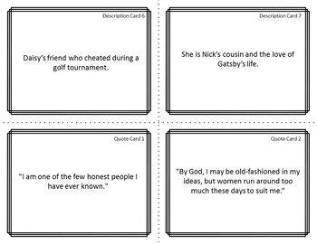 Character Card Sort Memory Review Game for The Great Gatsby