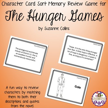 Character Card Sort Memory Review Game for The Hunger Games by Suzanne Collins