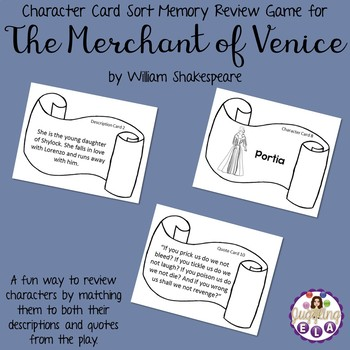 Character Card Sort Memory Review Game for The Merchant of Venice by Shakespeare