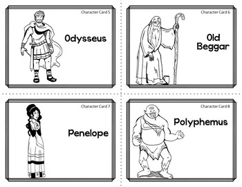 Character Card Sort Memory Review Game for The Odyssey by Homer
