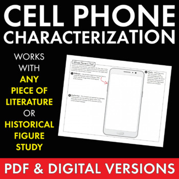 Character Cell Phone Fun Writing Handout Use With Any Literature Grades 6 12