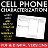 Character Cell Phone – Fun Writing Handout, Use with ANY Literature Grades 6-12