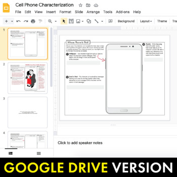 Character Cell Phone Fun Writing Handout Use With Any Literature