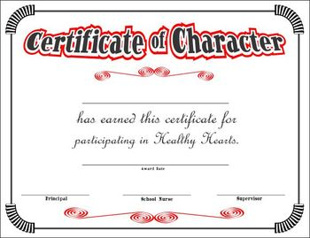 Character Certificate for Healthy Hearts Program